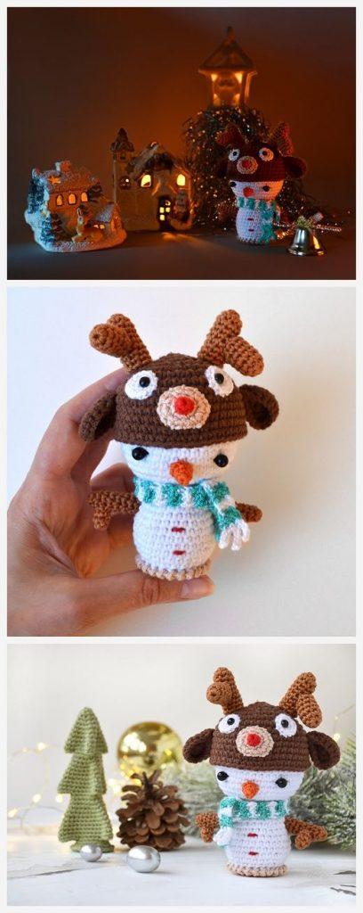 Snowman in Deer Hat Free Crochet Pattern