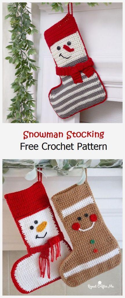 Snowman Stocking Free Crochet Pattern