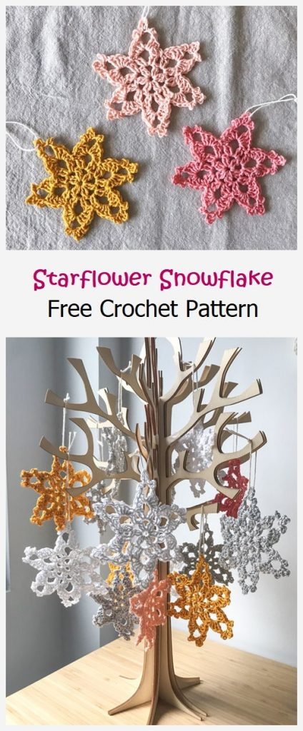 Starflower Snowflake Free Crochet Pattern