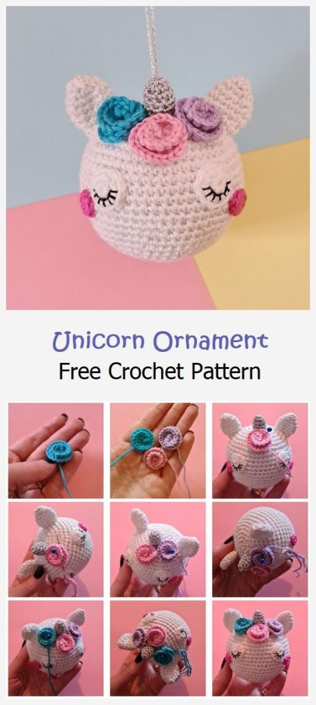 Unicorn Ornament Free Crochet Pattern