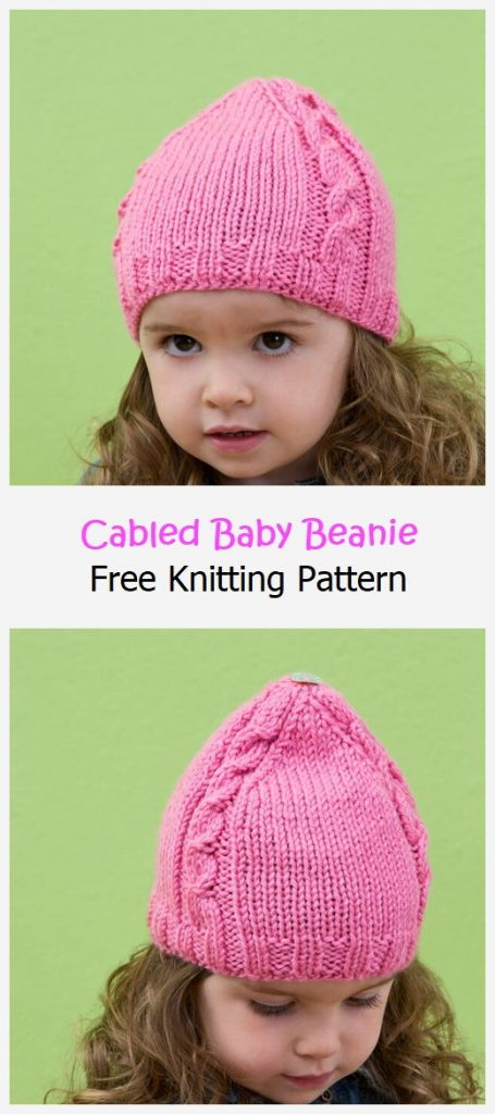 Cabled Baby Beanie Free Knitting Pattern