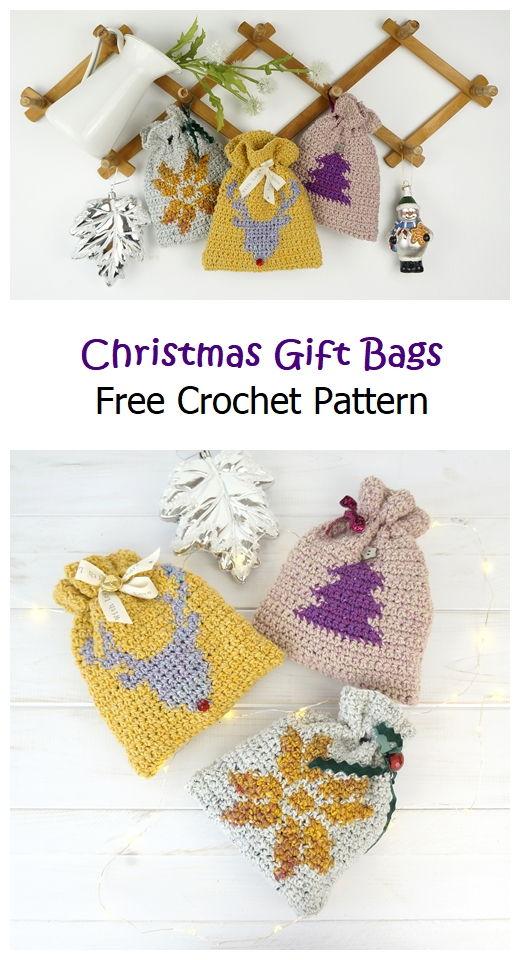 Christmas Gift Bags Free Crochet Pattern