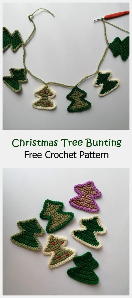Christmas Tree Bunting Free Crochet Pattern
