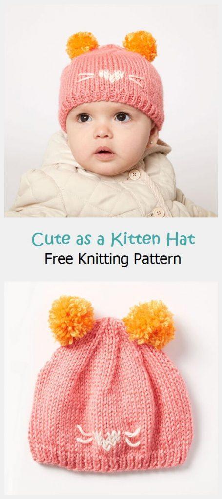 Cute as a Kitten Hat Free Knitting Pattern