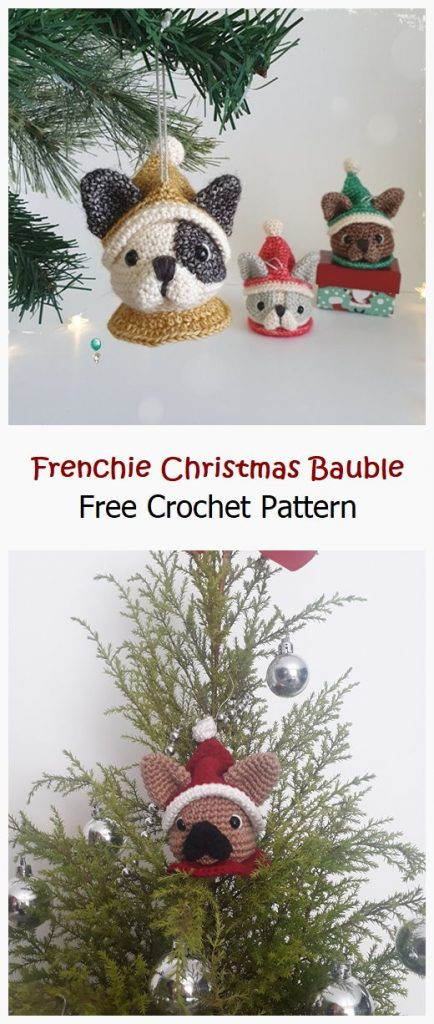 Frenchie Christmas Bauble Free Pattern