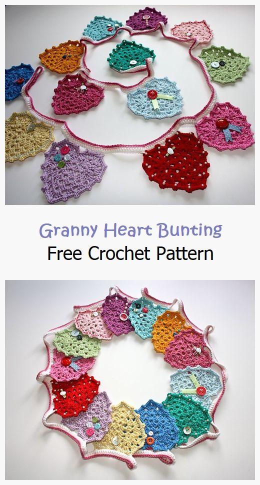 Granny Heart Bunting Free Crochet Pattern
