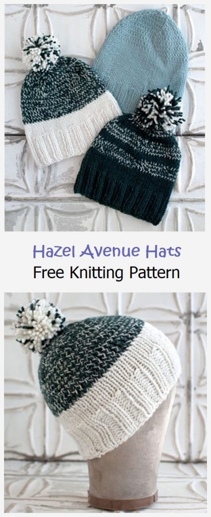 Hazel Avenue Hats Free Knitting Pattern