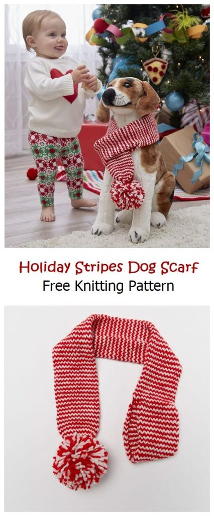 Holiday Stripes Dog Scarf Free Pattern