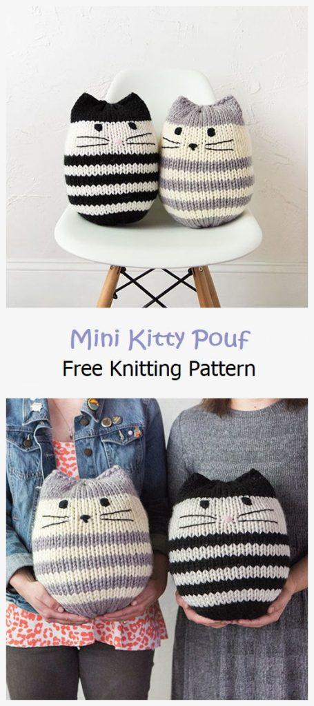 Mini Kitty Pouf Free Knitting Pattern