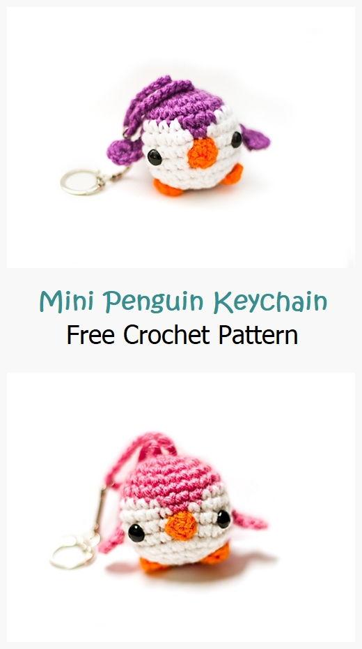 Mini Penguin Keychain Free Crochet Pattern