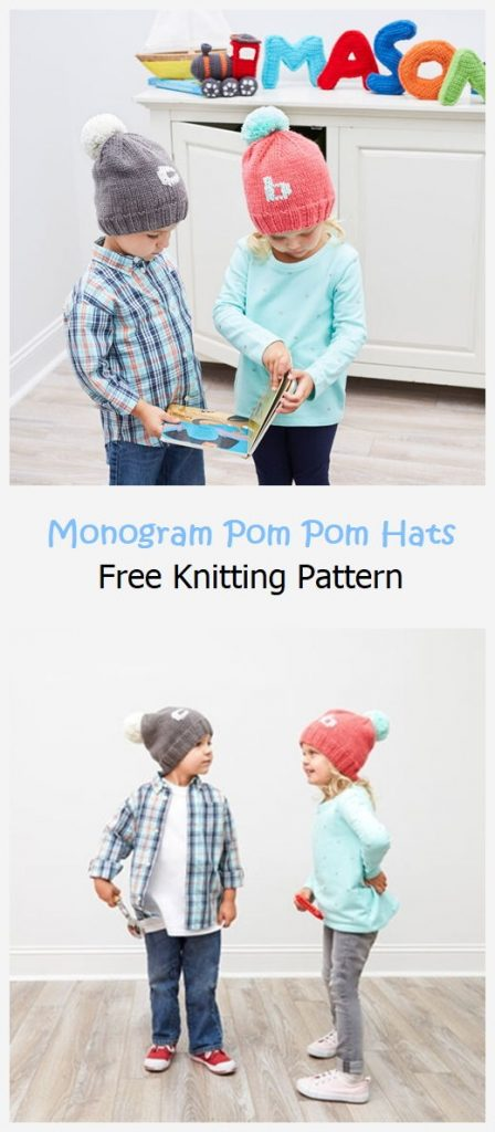 Monogram Pom Pom Hats Free Pattern