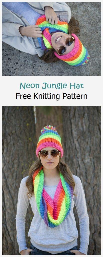 Neon Jungle Hat Free Knitting Pattern
