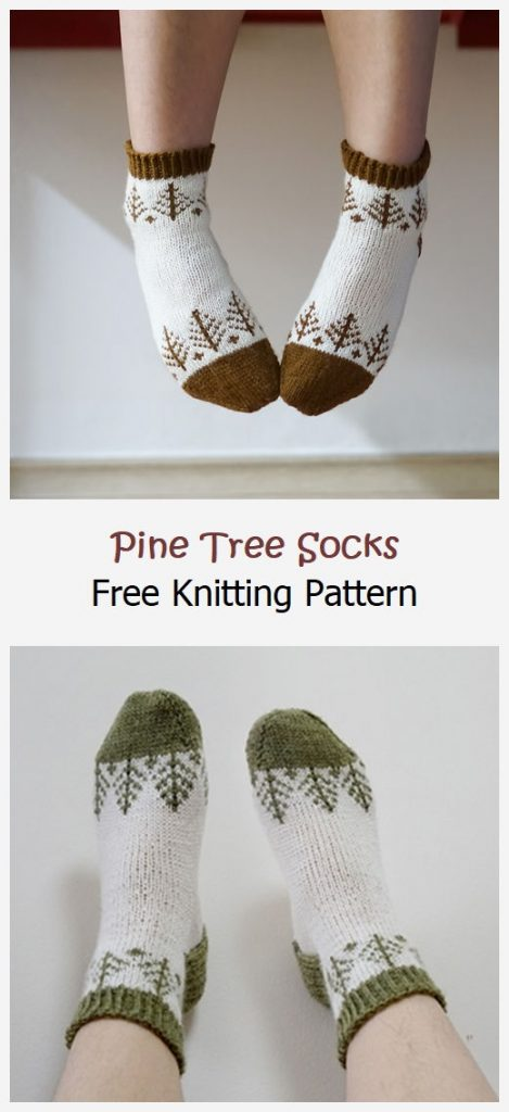 Pine Tree Socks Free Knitting Pattern