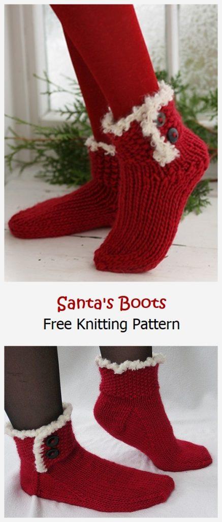 Santa's Boots Free Knitting Pattern