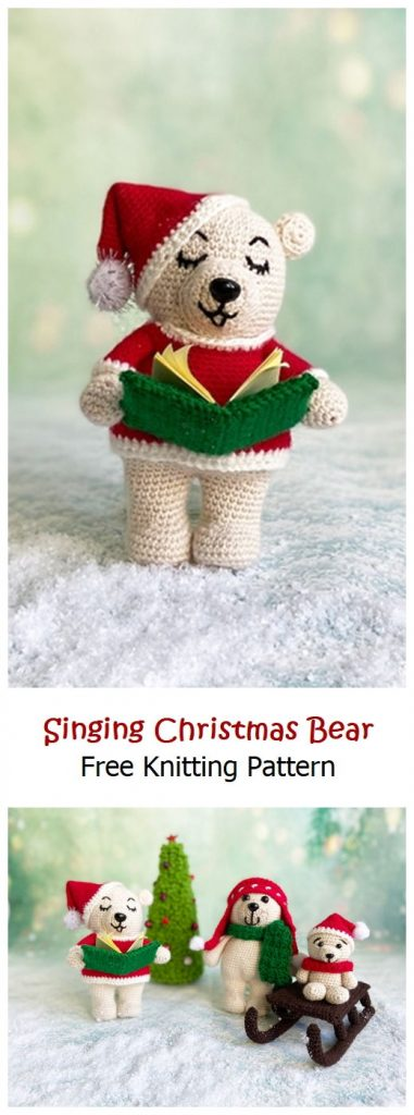 Singing Christmas Bear Free Crochet Pattern