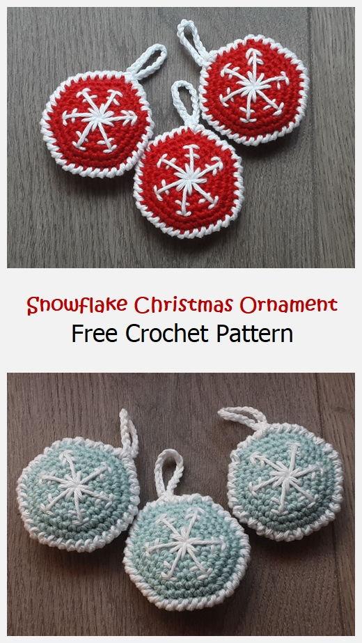 Snowflake Christmas Ornament Free Crochet Pattern
