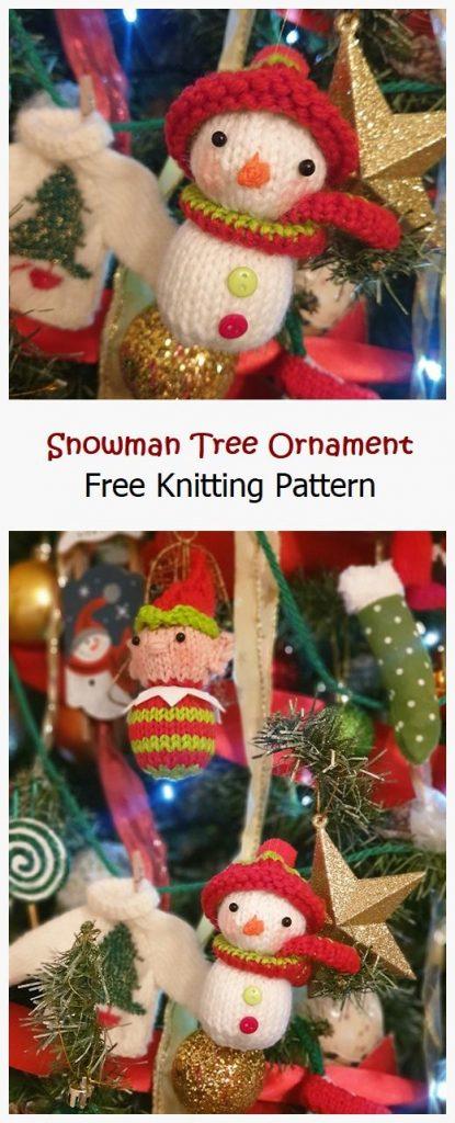 Snowman Tree Ornament Free Knitting Pattern