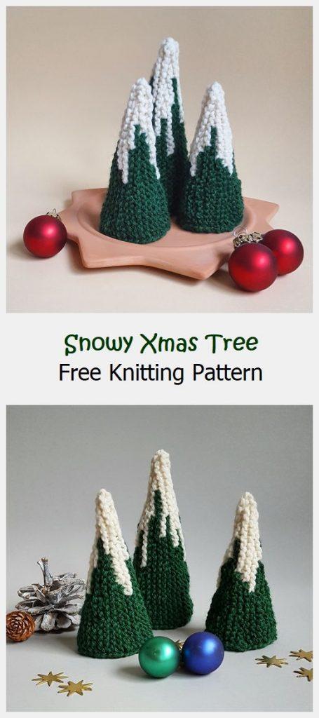 Snowy Xmas Tree Free Knitting Pattern