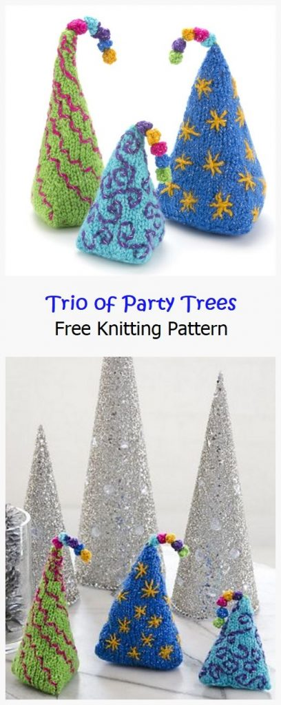 Trio of Party Trees Free Knitting Pattern