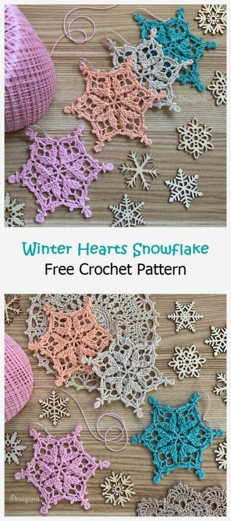 Winter Hearts Snowflake Free Crochet Pattern