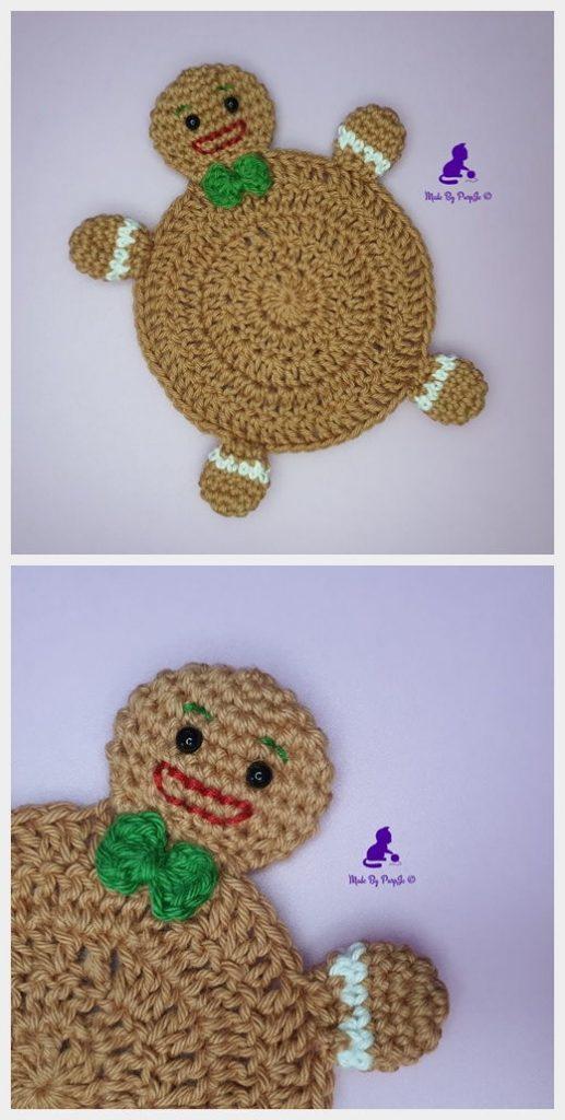 Gingerbread Man Coaster Free Crochet Pattern