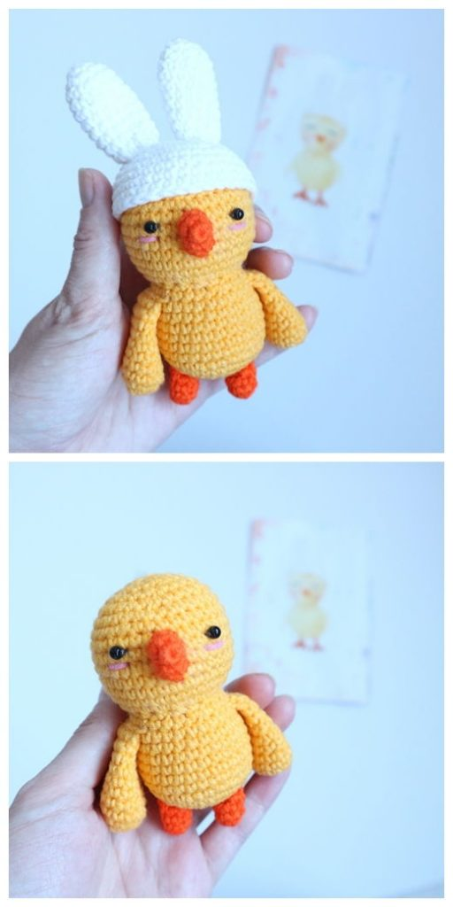 Easter Chicken with Bunny Ears Free Pattern