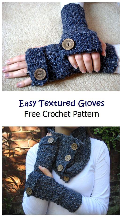 Easy Textured Fingerless Gloves Free Pattern