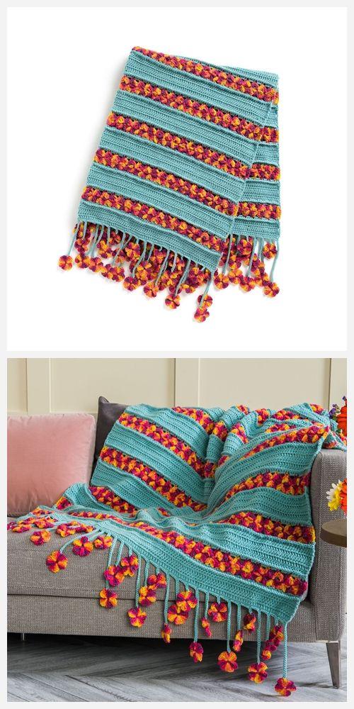 Garden Flowers Blanket Free Crochet Pattern