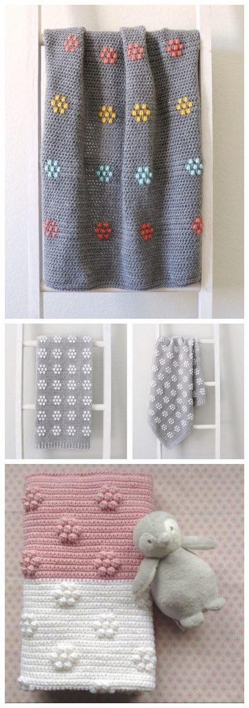 Velvet Flowers Blanket Free Crochet Pattern
