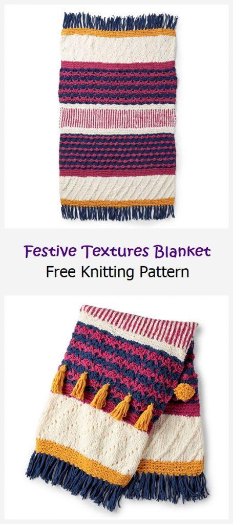 Festive Textures Blanket Free Knitting Pattern