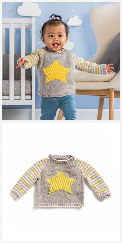 Star Baby Pullover Free Knitting Pattern